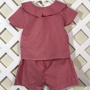 Other - 3T Red white gingham check summer short 2 pc NWT